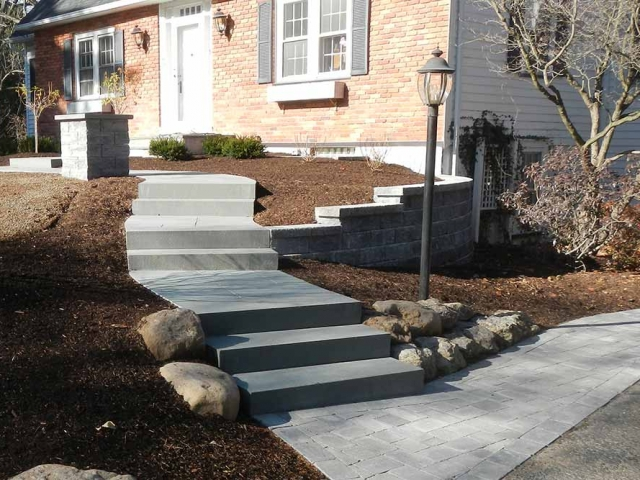 stone steps leading to front of house