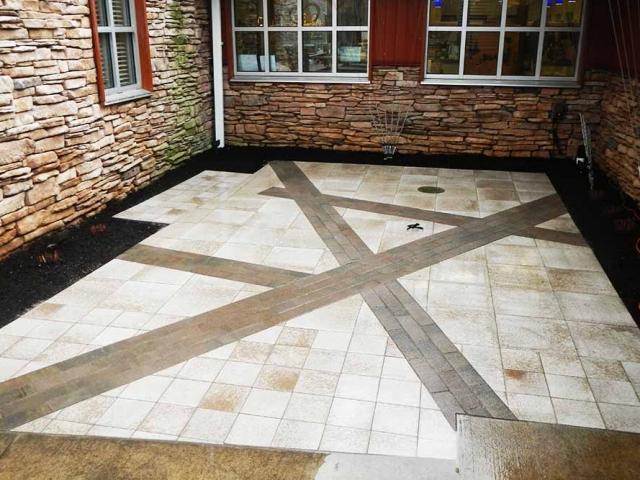 stone patio with x design