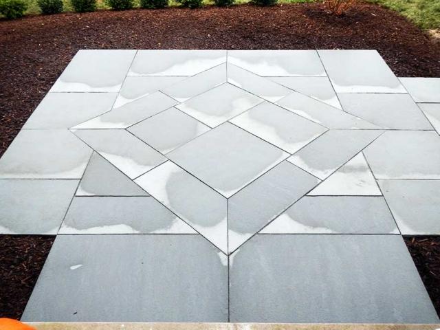 stone walkway with diamond shape