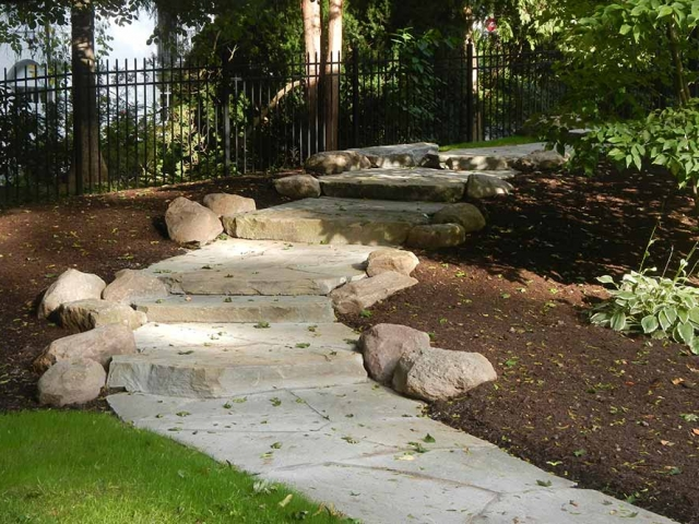 rustic stone steps on pathway in landscape
