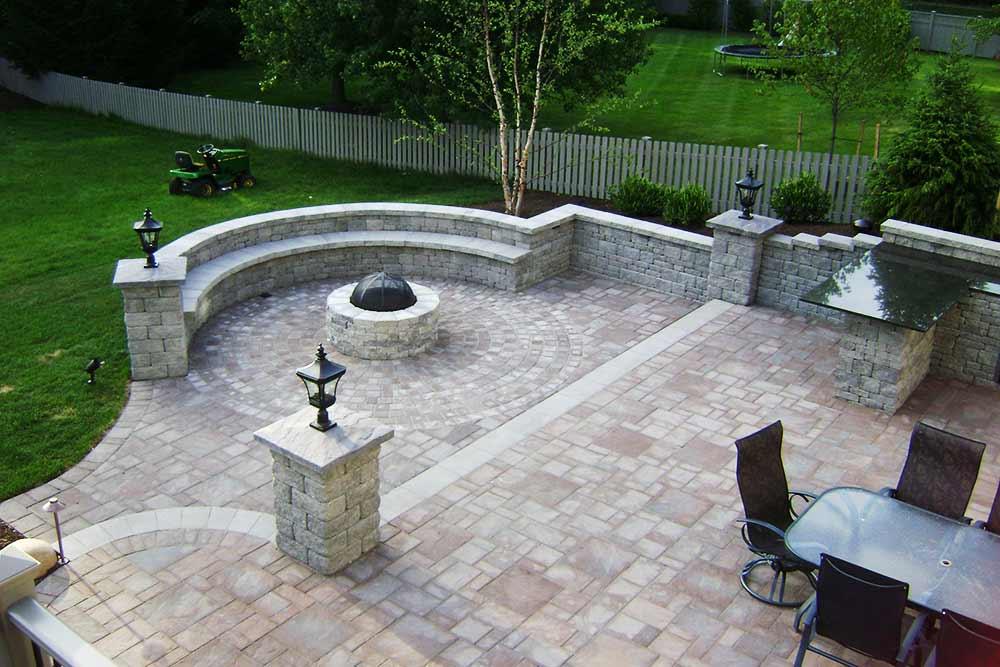 stone patio in backyard